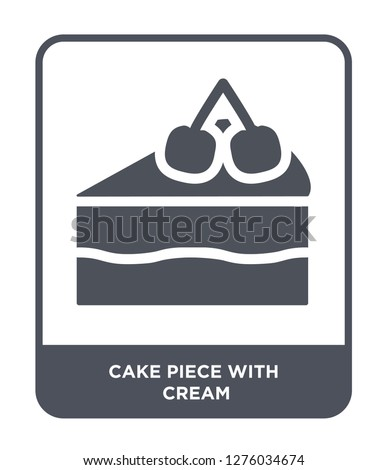 cake piece with cream icon vector on white background, cake piece with cream trendy filled icons from Bistro and restaurant collection, cake piece with cream vector illustration