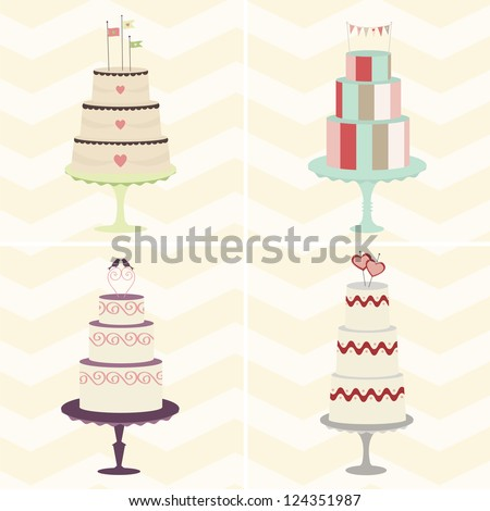 Cake Quartet: A foursome of trendy, whimsical cakes will add fun to your celebration design. Can be used together or individually. Fully editable vector illustration. - stock vector
