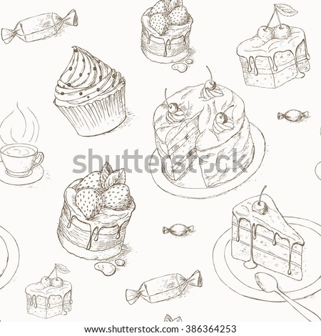 Cake seamless pattern. Cakes, candy and other sweets. Hand drawn illustration of cake. Piece of cake. Bakery desserts wallpaper. Cakes with cream and berries. Celebration cake design.