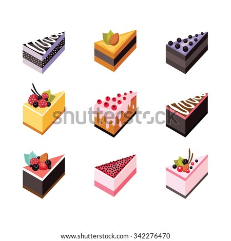 cake set isometric flat design