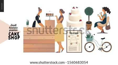 Cake shop, cakes on demand - small business graphics - baker and customer -modern flat vector concept illustrations -a seller and the buyer at the counter, woman eating a cake, bicycle, poster, plant