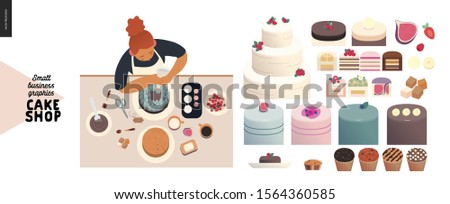 Cake shop, cakes on demand - small business graphics - cakes assortment and a process -modern flat vector concept illustrations - a range of cakes, pastries, tarts and cupcakes, baker decorating cake