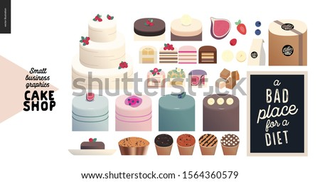 Cake shop, cakes on demand - small business graphics - cakes assortment -modern flat vector concept illustrations - a range of cakes, pastries, tarts and cupcakes, package, quote