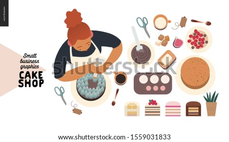 Cake shop, cakes on demand - small business graphics - process -modern flat vector concept illustrations - a cake maker decorating a cake, production process, cakes range set
