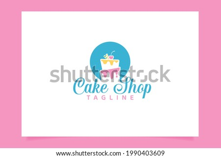 Cake shop logo vector graphic with beautiful cake images for all businesses, especially for bakery, cakery, cake art, cake school, etc. ストックフォト ©