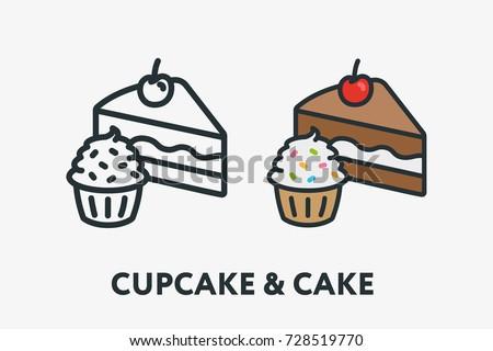 cake slice and cupcake sweet