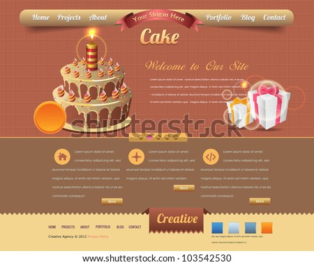 Cake Style Website design vector elements