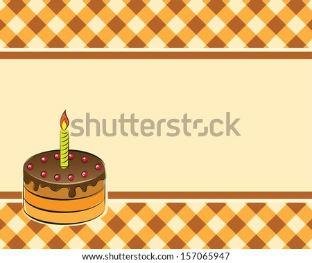 Cake with a candle on a plaid background. Vector illustration