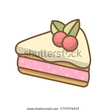 Cake with berryes and berry cream. Sweet dessert. Flat line art vector illustration. Dessert isolated on white background for poster, sticker, template.