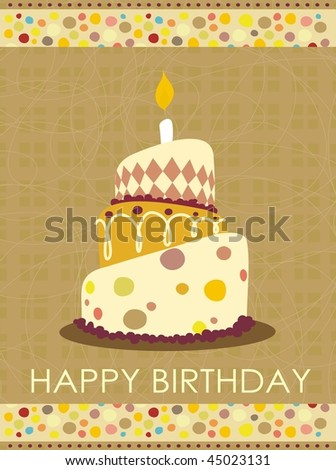 cake with candle for birthday postcard