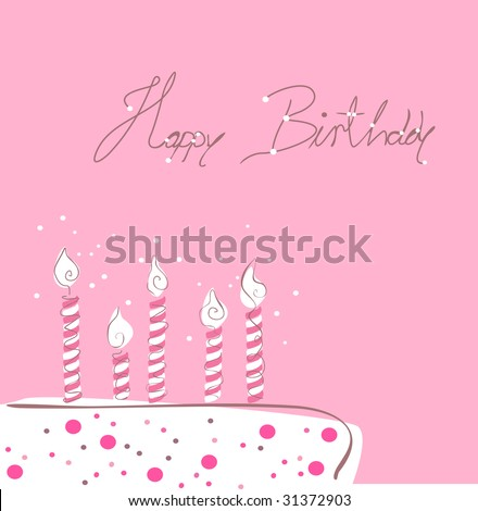 cake with candles, birthday greeting card