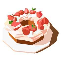 cake with strawberries polygon