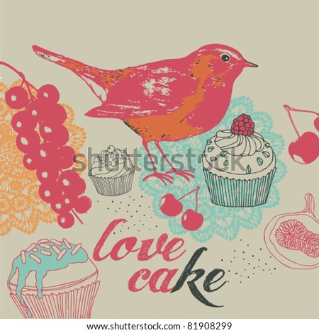 Cakes and berrys background