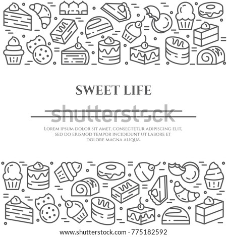 Cakes and cookies banner with pictograms of different sweet desserts and food elements collected in form of horizontal rectangles. Vector illustration of isolated outline icons with editable stroke.
