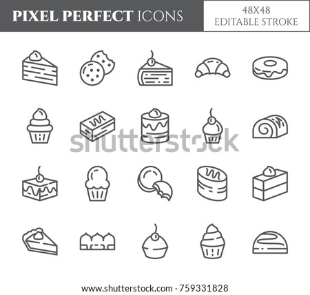 Cakes and cookies related pixel perfect icons set with different desserts and bakery products elements. Isolated 48x48 pixels pictograms vector illustration with editable stroke.