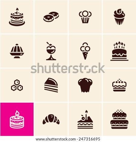 Cakes and dessert icons set. Dessert icons. Confectionery. Pastry.