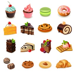 Cakes and sweets decorative icons set with donut cookies cupcake isolated vector illustration