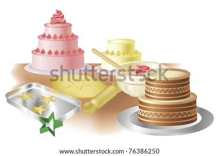 Cakes, cookies and baking paraphernalia illustration