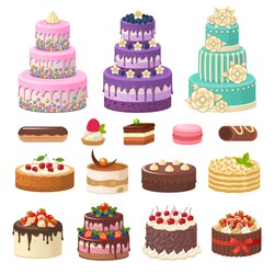 Cakes icons collection. Vector illustration of different types of beautiful modern cakes, such as chocolate cake, Napoleon cake, tiramisu, Sacher, eclair and cheesecake. Isolated on white.