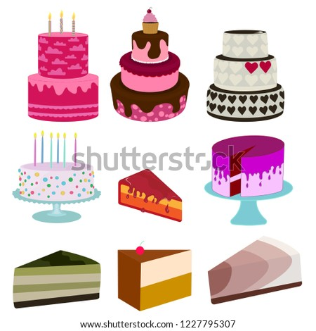 cakes icons collection vector