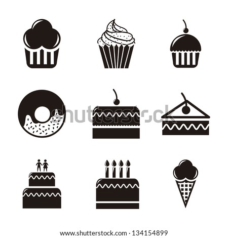 cakes icons over white
