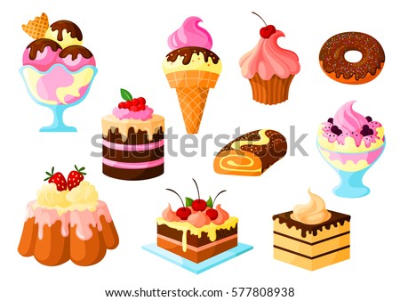 Cakes, pies and desserts vector icons of fruit cupcake and chocolate glaze, ice cream, tart and donut, roll bun and pudding. Isolated set for bakery shop, pastry and patisserie or confectionery.