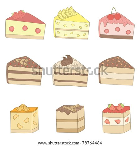 Cakes. Vector illustration.