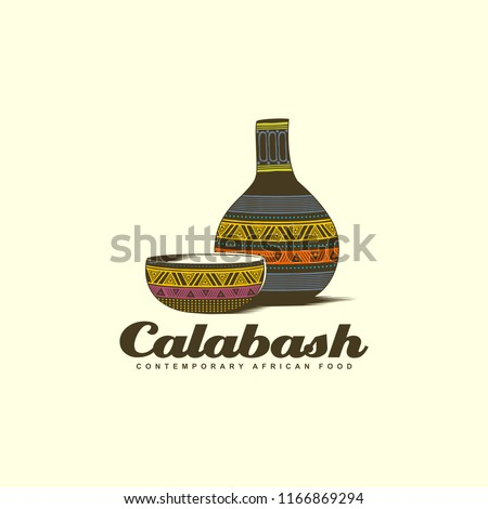 Calabash bowl with water bottle colorful logo design Stockfoto ©