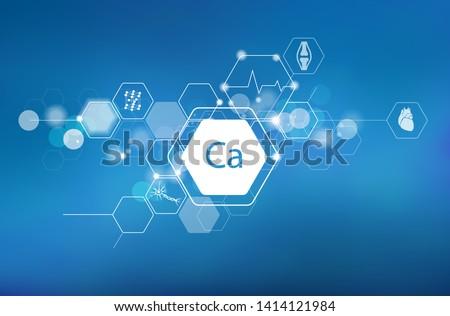 Calcium. Scientific medical research, the effect on human health. The designation of Calcium in the periodic table.