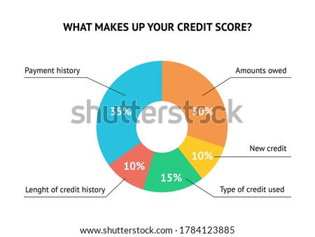 Calculate credit score pie chart flat vector concept isolated on white background Foto stock ©