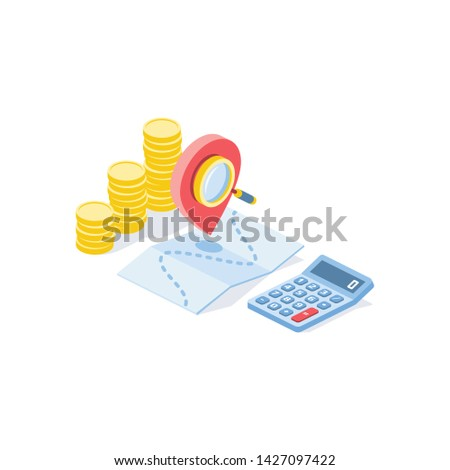 Calculate shipping costs. Map label, calculator, coins money, search magnifier. Vector 3d isometric color icon new flat style. Creative illustration, idea for infographics. Stock foto ©