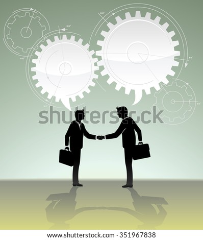 Calculated Business Deal -Conceptual business illustration of a working partnership/merger
