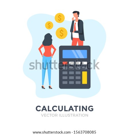 Calculating. Flat design. Business people and calculator with dollar coins. Accounting, financial analytics. budget calculation, economy concepts. Vector illustration