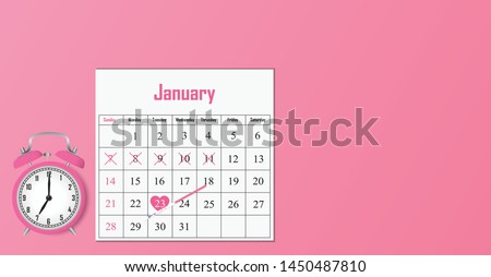Calculating Ovulation day concept art with a pink clock, ovulation test strip  and a calendar, isolated on a pink background. Vector illustration. Gynecology concept.