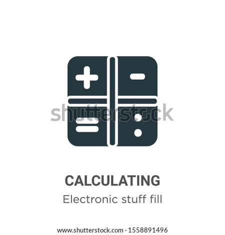 Calculating symbol vector icon on white background. Flat vector calculating symbol icon symbol sign from modern electronic stuff fill collection for mobile concept and web apps design.