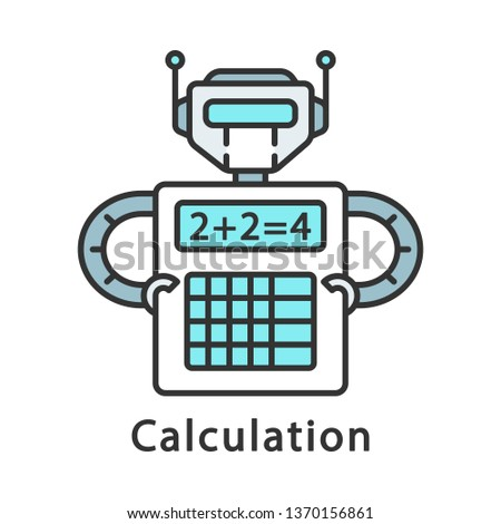 Calculation color icon. Complex math calculations. Robot holding calculator. Robotic process automation. Isolated vector illustration