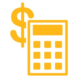 Calculation icon from Commerce Set. Vector style: flat symbol, yellow color, rounded angles, white background.