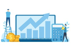 Calculation of business break even point thinking of revenue growth reporting results by graph or bar chart,money,calculator,vector illustration flat blue tone concept
