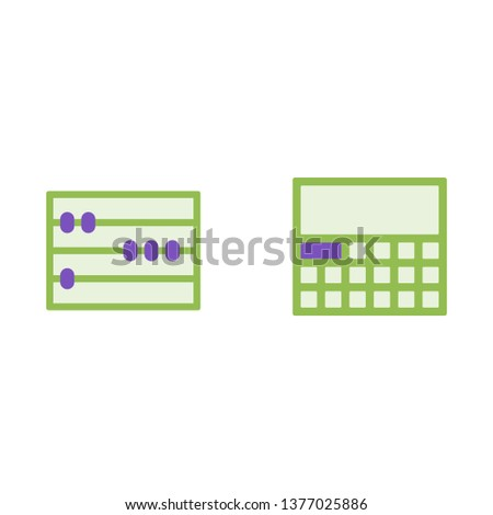 Calculator and mathematical abacus vector flat icons, mathematics vector illustration