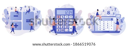 Calculator app. Tiny people with calculating. Accounting, financial analytics, bookkeeping,  budget calculation, audit debit and credit calculations. Modern flat cartoon style. Vector illustration  ストックフォト ©