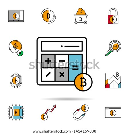 calculator, bitcoin, calculating, calculate icon. Universal set of cryptocurrency for website design and development, app development