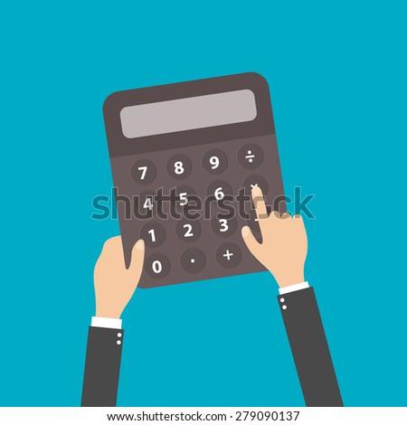 calculator business man accountant hand vector illustration Stock photo ©