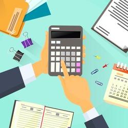 Calculator Business Man Hand Office Desk Accountant Vector Illustration