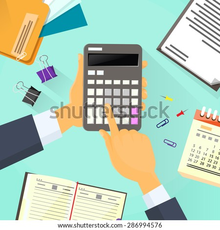 Calculator Business Man Hand Office Desk Accountant Vector Illustration