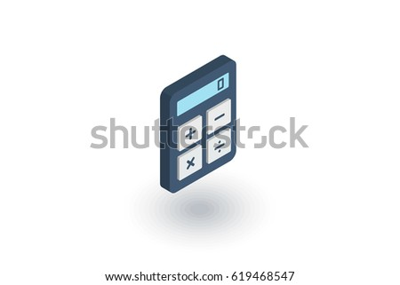 Calculator, calc isometric flat icon. 3d vector colorful illustration. Pictogram isolated on white background