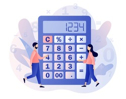 Calculator concept. Tiny people with calculating. Accounting, financial analytics, bookkeeping,  budget calculation, audit debit and credit calculations. Modern flat cartoon style. Vector illustration