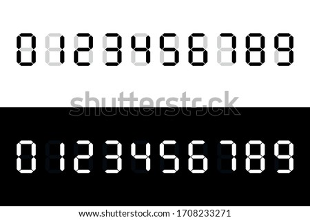 Calculator digital numbers. Digital clock number. Set black and white electronic figures. Counter, clock, calculator mockup.