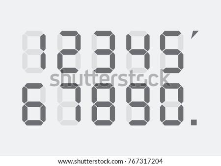 Calculator digital numbers. Digital numbers set. Vector illustration