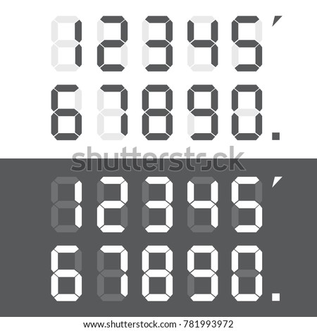 Calculator digital numbers. Digital numbers set. Vector illustration