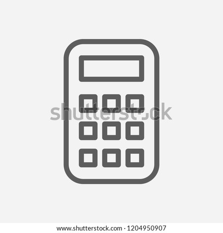 Calculator icon line symbol. Isolated vector illustration of  icon sign concept for your web site mobile app logo UI design.